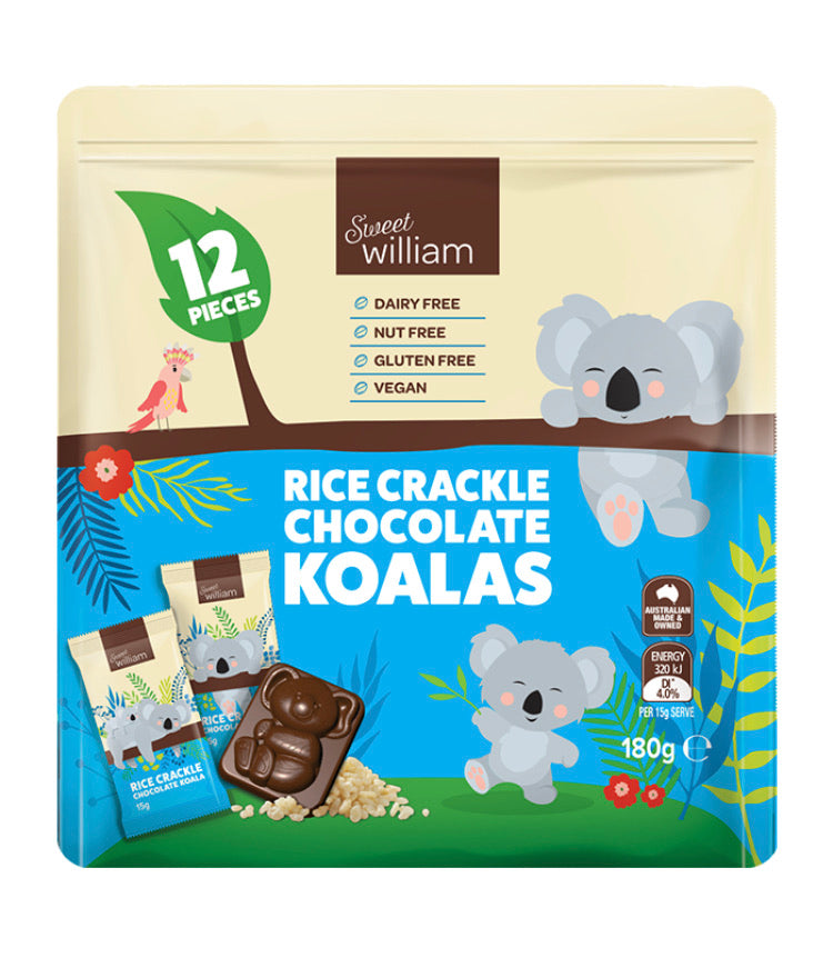 Sweet William Rice Crackle Chocolate Koalas 12 Pieces 180Gr