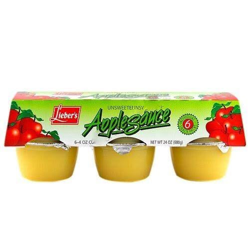 Liebers Unsweetened Apple Sauce 6 Pack 680G