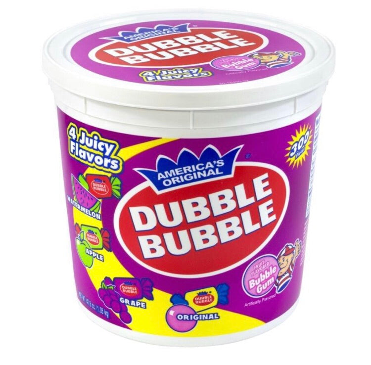 Dubble Bubble Gum Bulk Tub 300 pieces 4 Fun Flavours