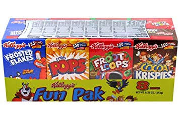 Kellogg's Fun Pack 8 Breakfast Cereal Pack Froot Loops Frosted Flakes Cocoa Krispies Corn Pops 243g