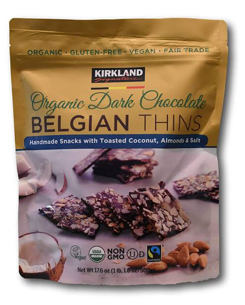 Kirkland Signature Organic Dark Chocolate Belgian Thins 500g