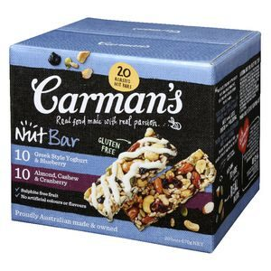Carman's Nut Bars Almond Cashew & Blueberry Yoghurt Mixed Pack 20 x 35G