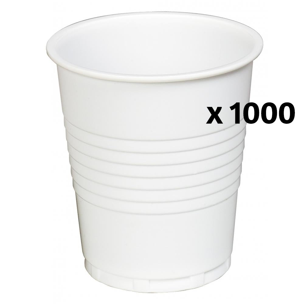 White Plastic Drinking Cups 200ml x 1000