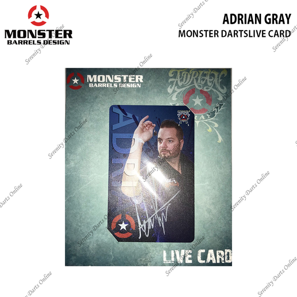 ADRIAN GRAY - MONSTER DARTSLIVE CARD (AUTOGRAPHED)