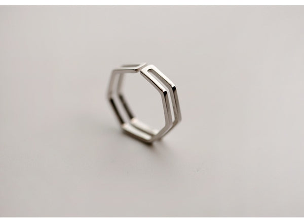 Trendy Hexagon Ring - 925 Sterling Silver