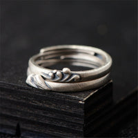 Mountain and Sea Wave Couple Ring