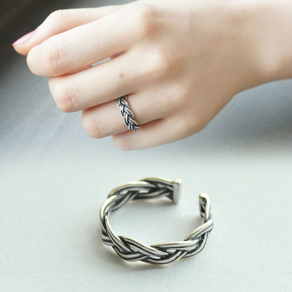 Trendy Weave Twist Ring - 925 Sterling Silver