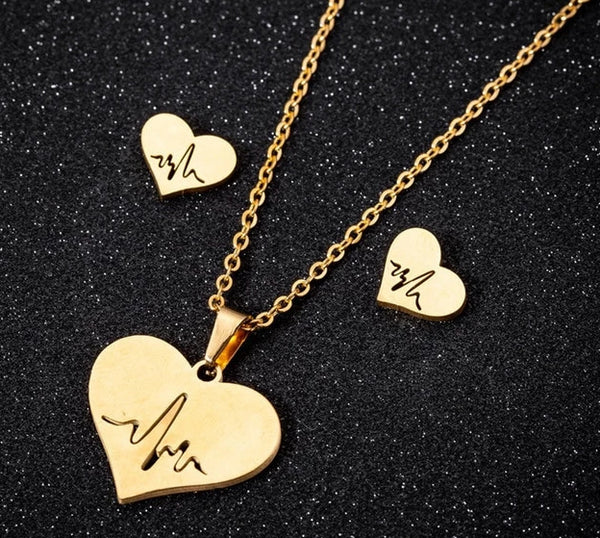 Heart Beat Necklace and Earrings Set