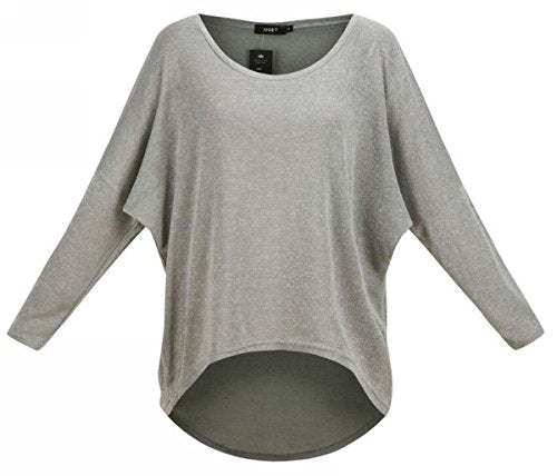 01736bdeaad ... Uget Women s Casual Oversized Baggy Off-Shoulder Shirts Pullover Tops  Asia XL Gray - Save ...