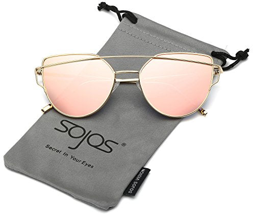 SojoS Cat Eye Mirrored Flat Lenses Street Fashion Metal Frame Women Sunglasses - Save and Shop Collections