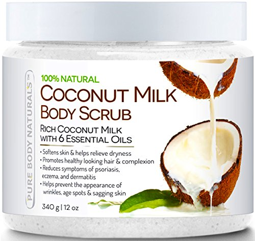 Pure Body Naturals Coconut Milk Body Scrub Exfoliator with Dead Sea Salt, 12 Ounce - Save and Shop Collections