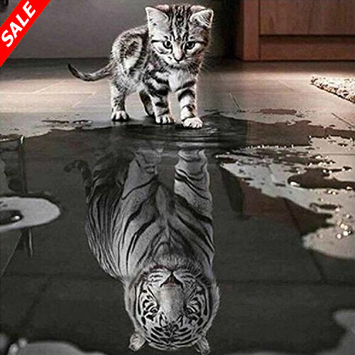 5D DIY Diamond Painting Cat Reflection Tiger - Save and Shop Collections