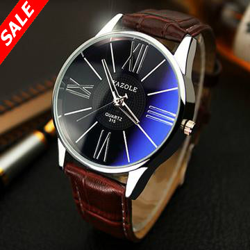 Yazole Men Fashion Leather Quartz Watch - Save and Shop Collections