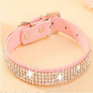 Rhinestone PU Leather Crystal Diamond Pet Collar - Save and Shop Collections