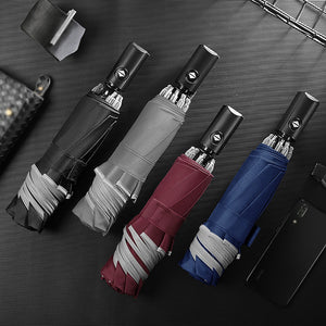 Automatic Umbrella Reverse Folding Business Umbrella With Reflective Strips Umbrellas Rain For Men Women Black Coating 2020