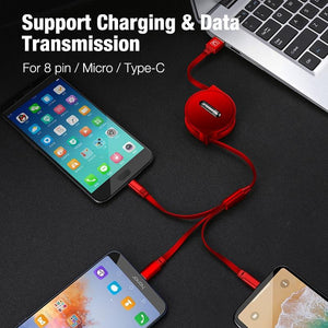 3 in 1 Retractable USB Cable for iPhone Micro USB Type C Flat Cable Fast Charging for iPhone Cable+ Micro USB+Type-C