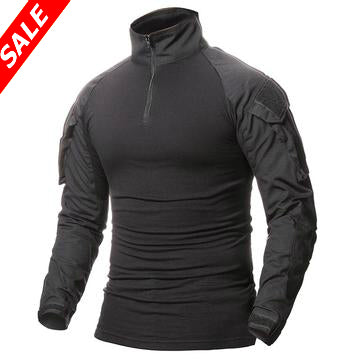 Tactical Long Sleeve Slim Fit Shirt with Zipper