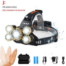 Load image into Gallery viewer, LED Zoomable Sensor Headlamp - 50000 Lumen 5*T6