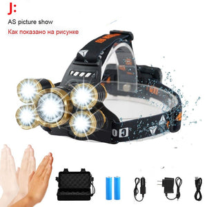 LED Zoomable Sensor Headlamp - 50000 Lumen 5*T6