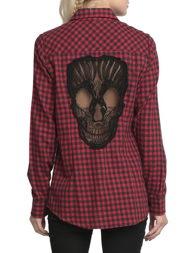 Hollow Skull Buttoned Shirt - Save and Shop Collections