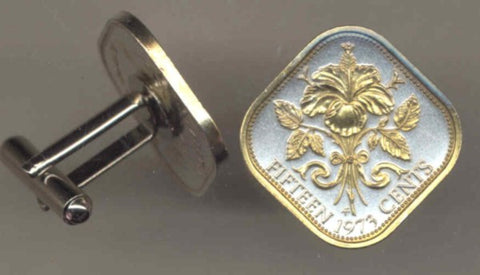 Bahamas 15 cent - Hibiscus (Cuff links)
