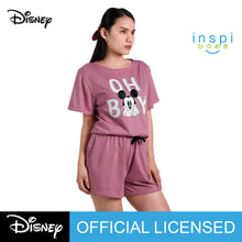 Load image into Gallery viewer, Disney Mickey Mouse Oh Boy Ladies Comfies Coords tshirt pambahay shorts in Old Rose loungewear