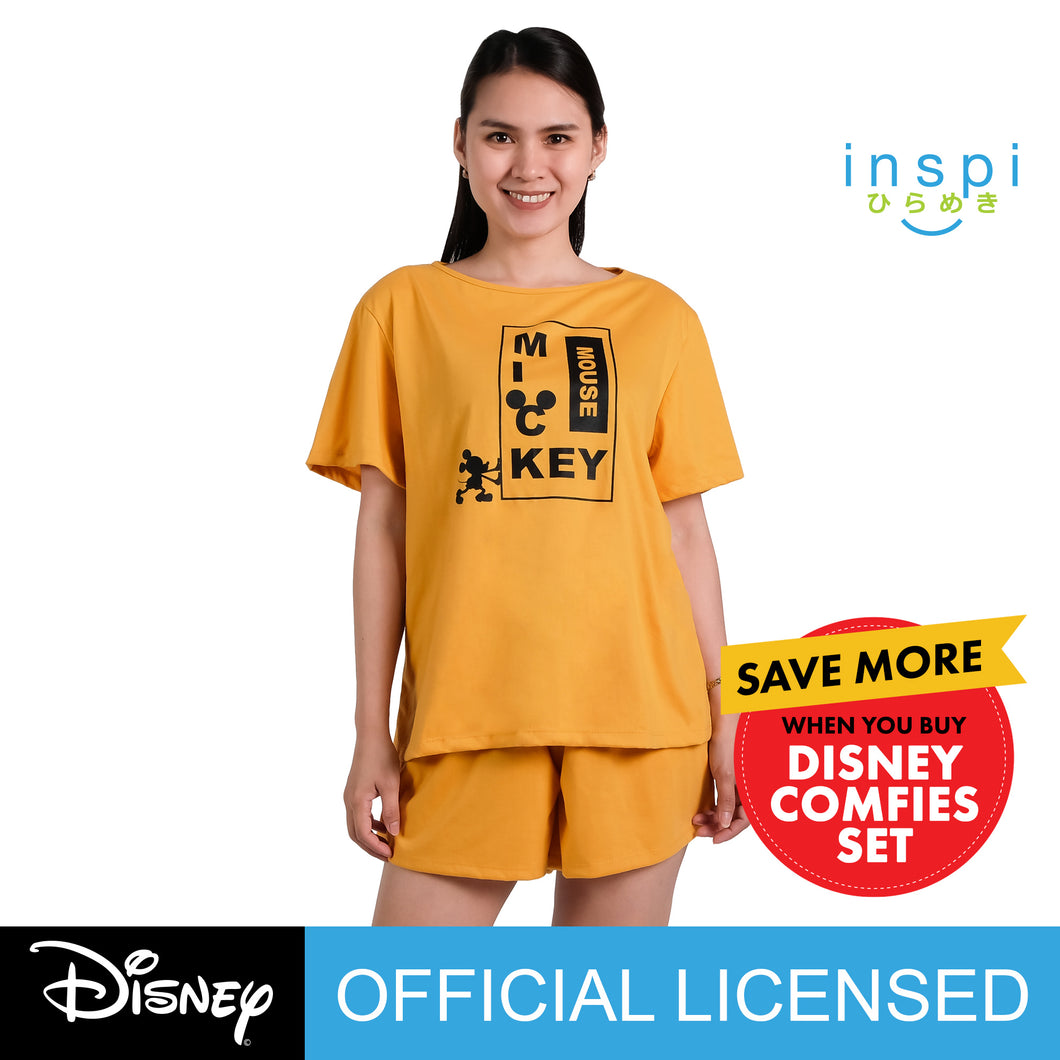 Disney Mickey Mouse Ladies Comfies Coords tshirt pambahay shorts in Yellow loungewear