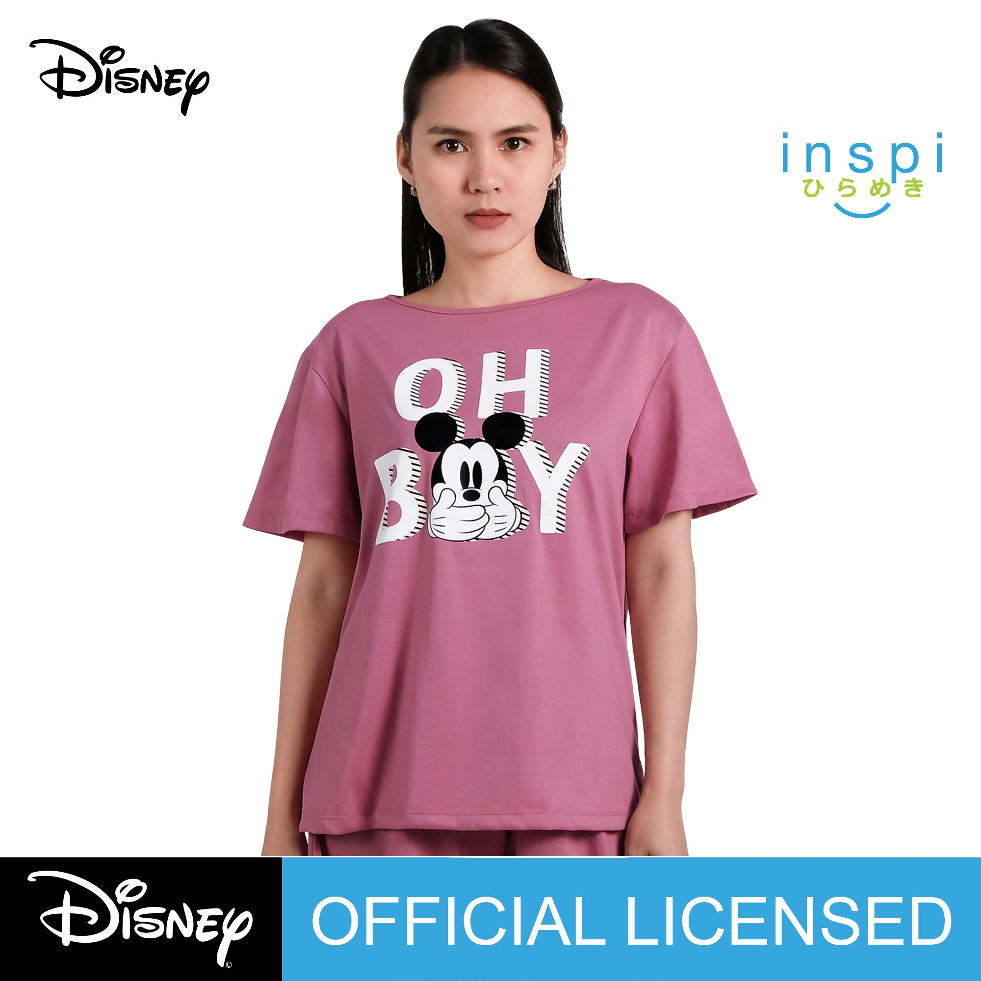 Disney Mickey Mouse Oh Boy Ladies Comfies Shirt in Old Rose Coords pambahay loungewear
