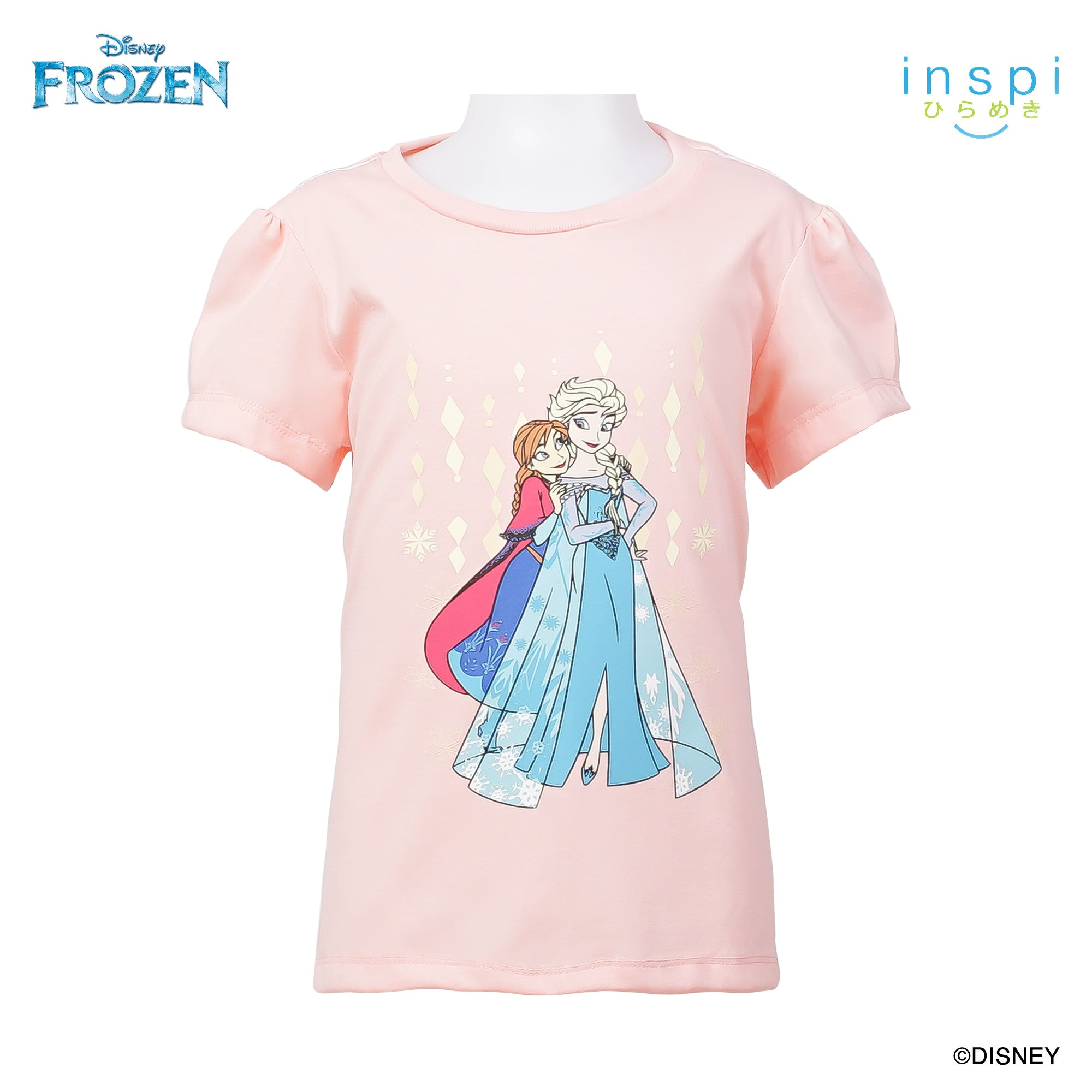 Disney Frozen Elsa and Anna Tshirt in Dairy Peach for Girls Inspi Shirt
