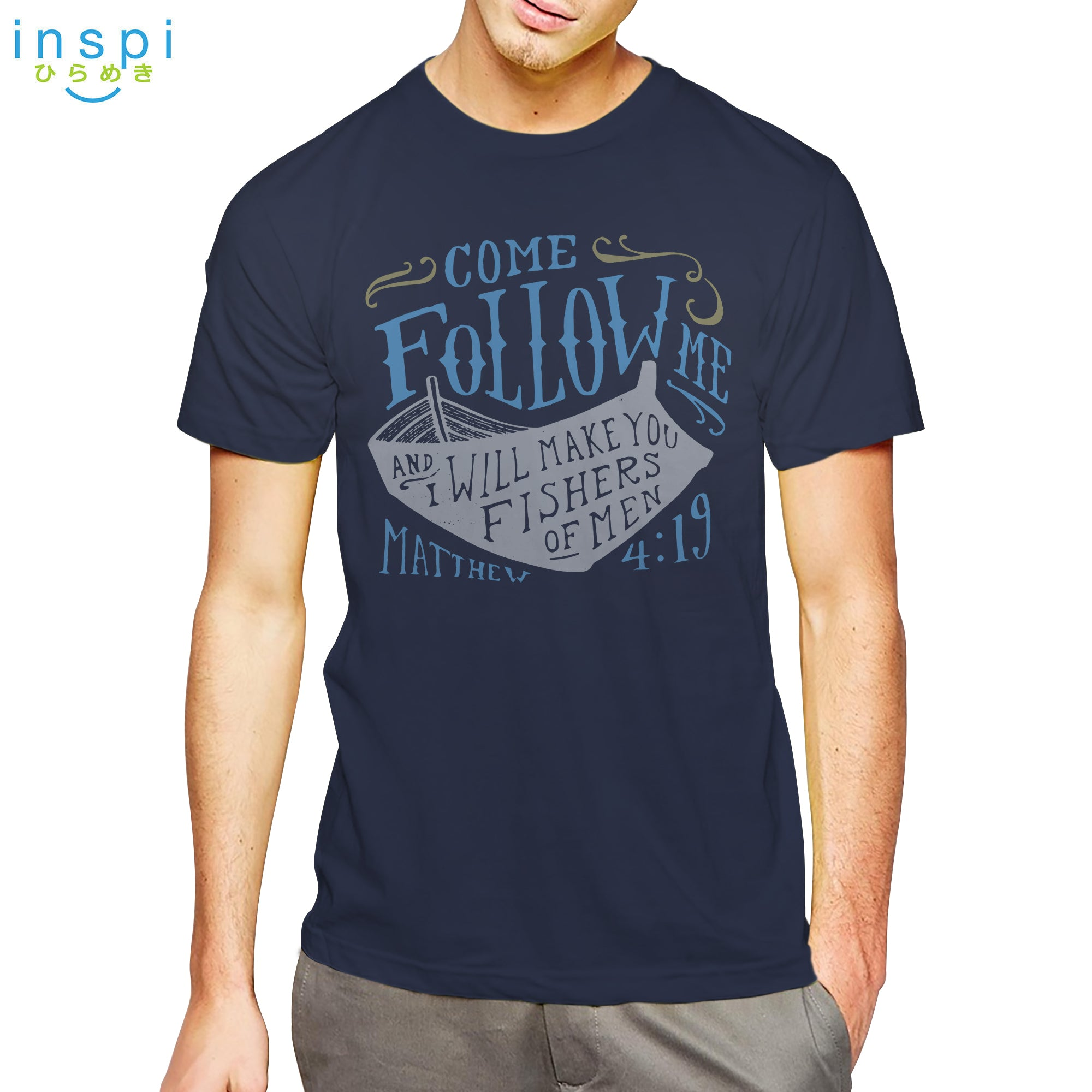 INSPI shirt Fishers of Men Graphic Tshirt in Navy Blue