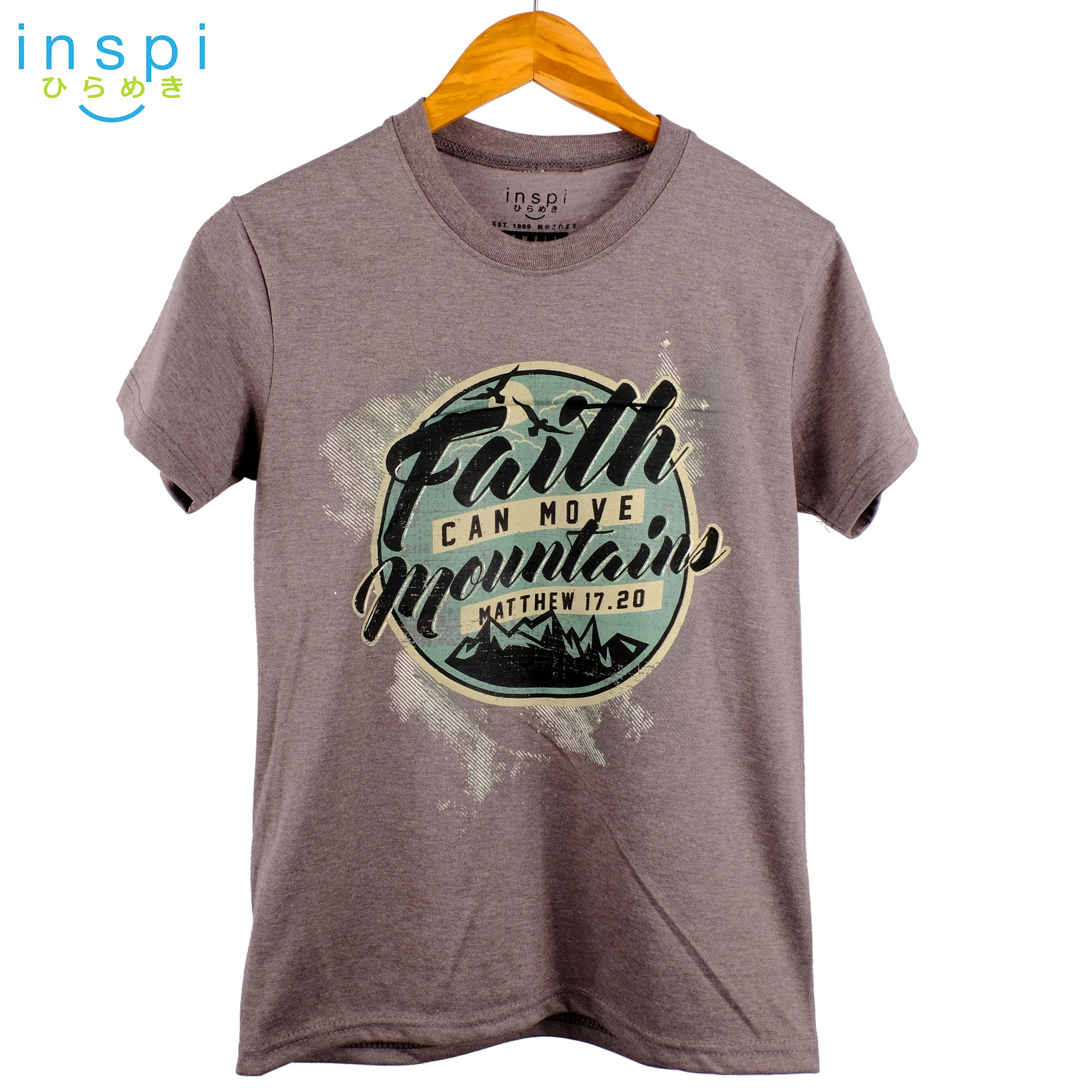 INSPI Shirt Faith can Move Graphic Tshirt in Dark Grey