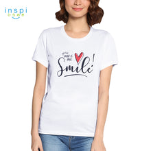 Load image into Gallery viewer, INSPI Tees Smile Graphic Tshirt in White