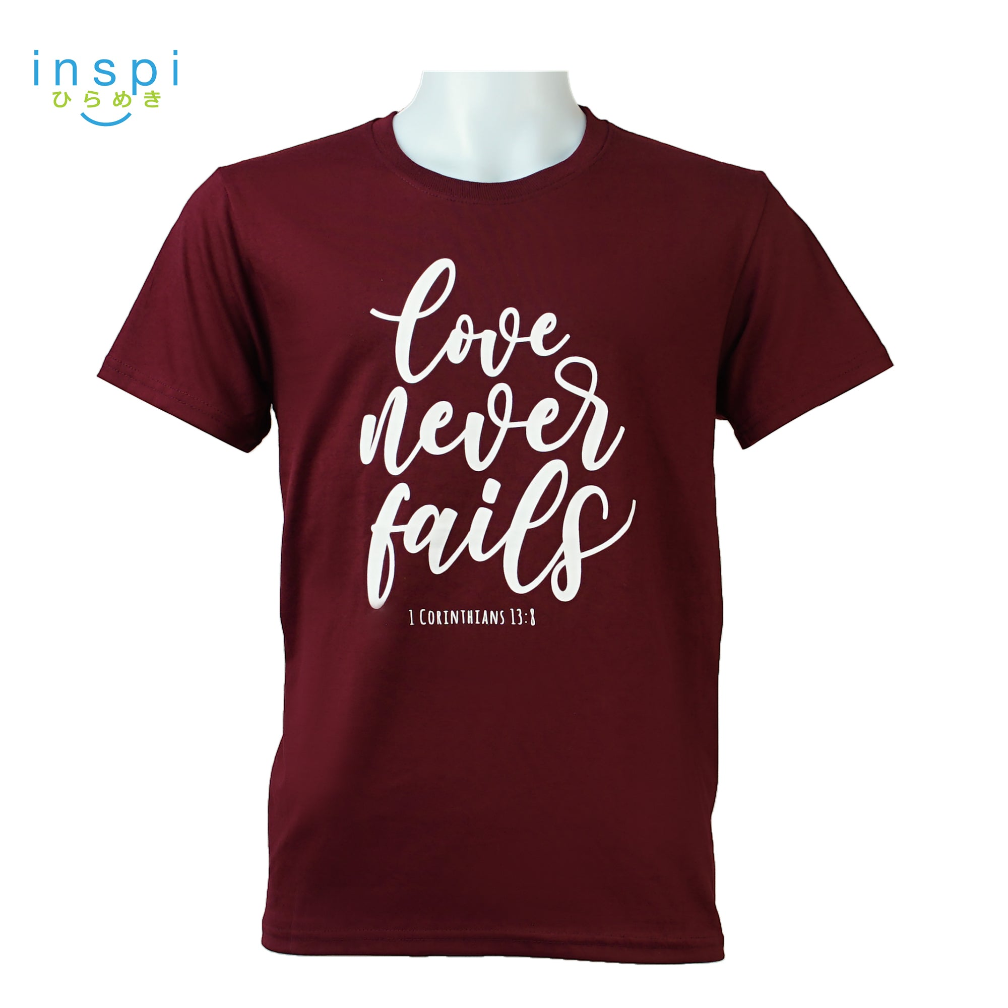 INSPI Tees Love Never Fails Graphic Tshirt in Maroon