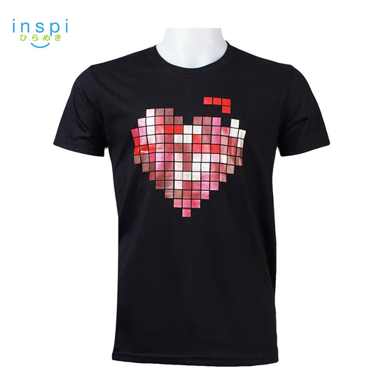 INSPI Tees Tetris Heart Graphic Tshirt in Black