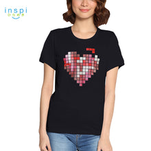 Load image into Gallery viewer, INSPI Tees Tetris Heart Graphic Tshirt in Black