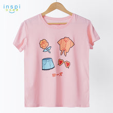 Load image into Gallery viewer, INSPI Tees Ladies Loose Fit Rose Love Graphic Tshirt in Dairy Peach