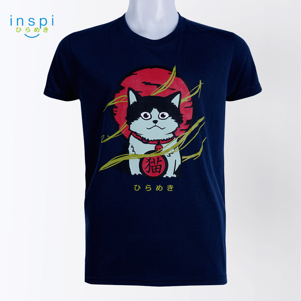 INSPI Tees Neko Cat Graphic Tshirt in Navy Blue