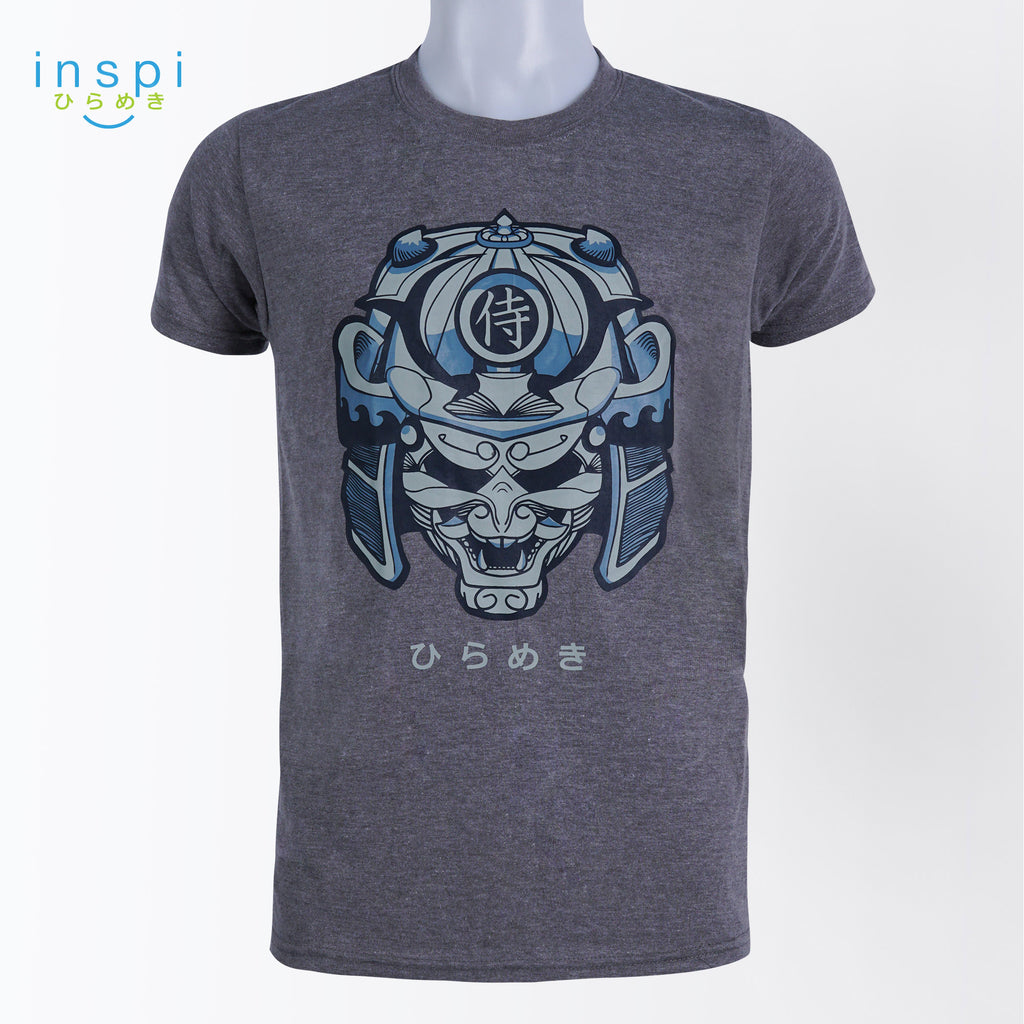 INSPI Tees Samurai Warrior Graphic Tshirt in Acid Gray