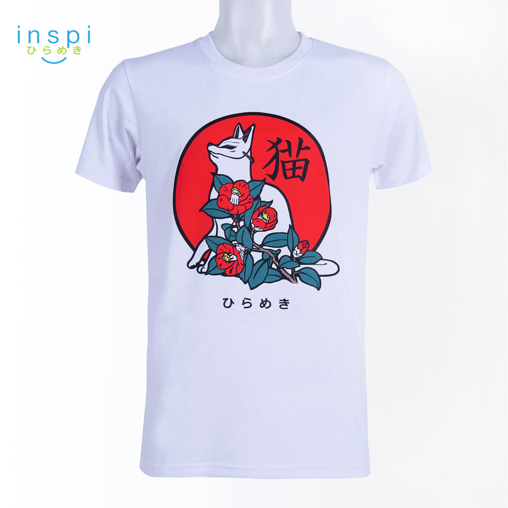 INSPI Tees Floral Neko Graphic Tshirt in White