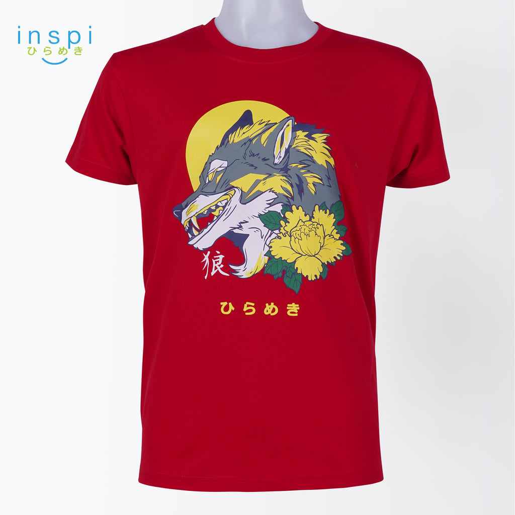 INSPI Tees Wolf with Flower Graphic Tshirt in Red