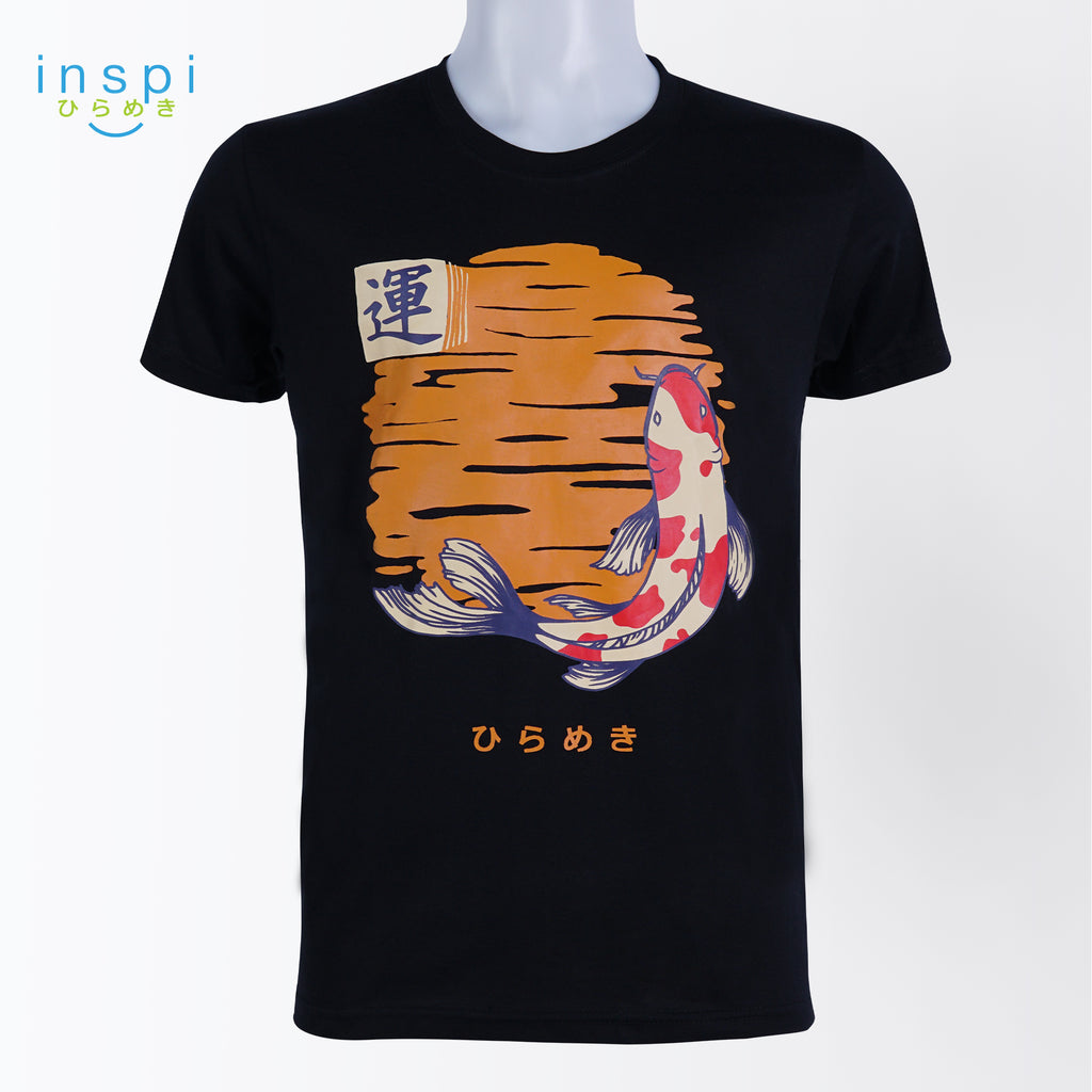 INSPI Tees Koi Fish Luck Graphic Tshirt in Black