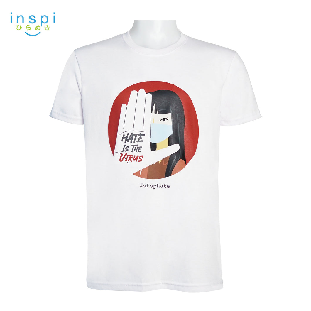 INSPI Tees Hate is the Virus Graphic Statement Tshirt in White For Men Trendy Women Unisex Tops
