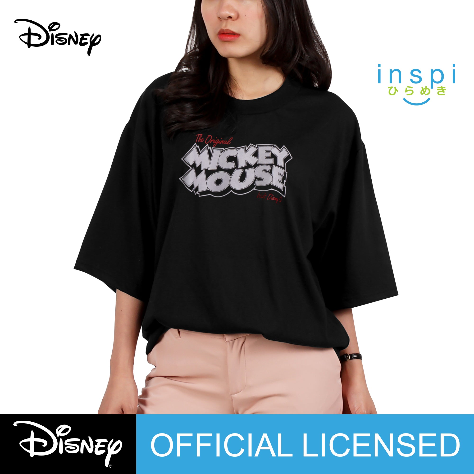 Disney Loose Fit Mickey Mouse Peace Graphic Korean Oversized Tshirt in Black Inspi Tee