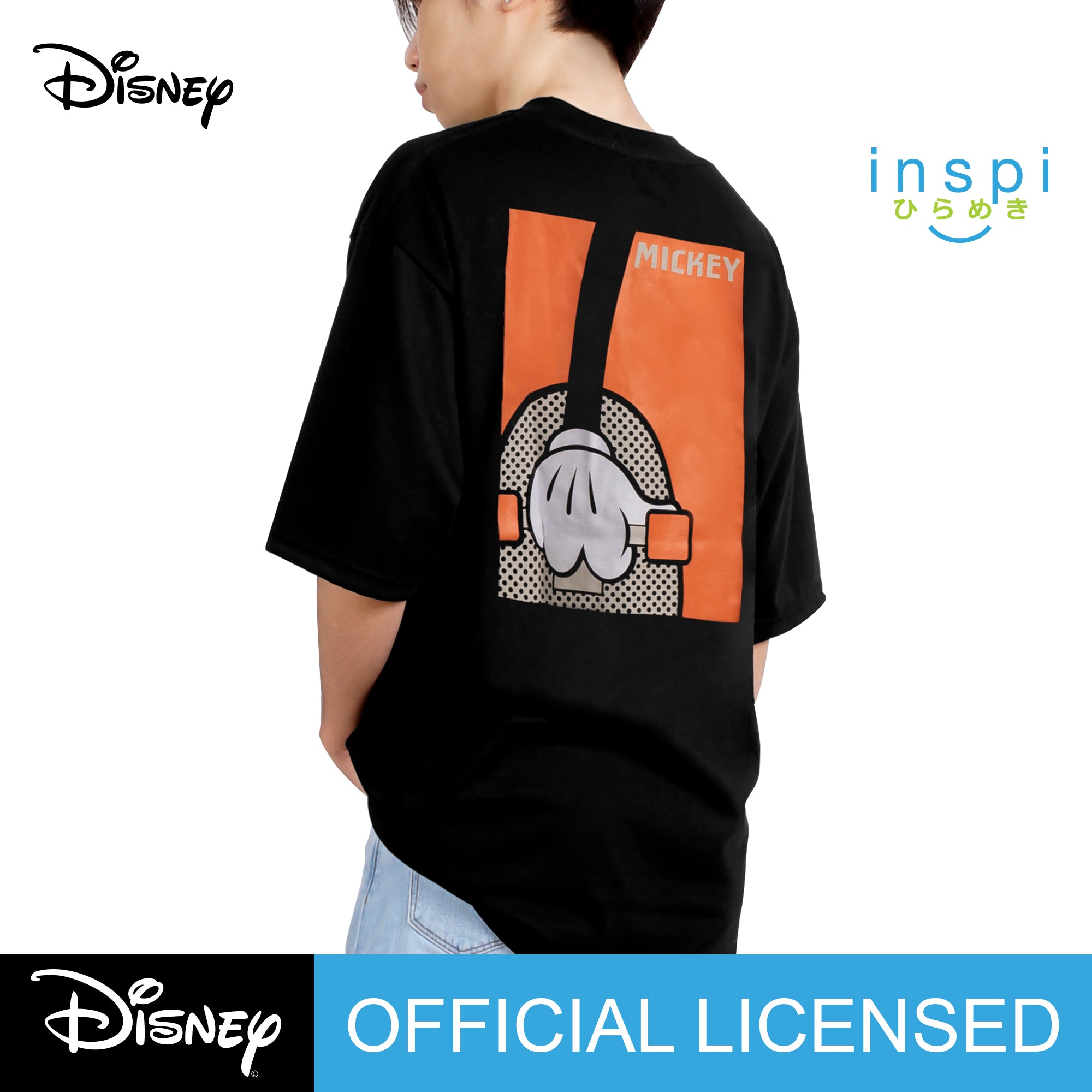 Disney Mickey Mouse Loose Fit Mickey State Graphic Korean Oversized Tshirt in Black Inspi Tee