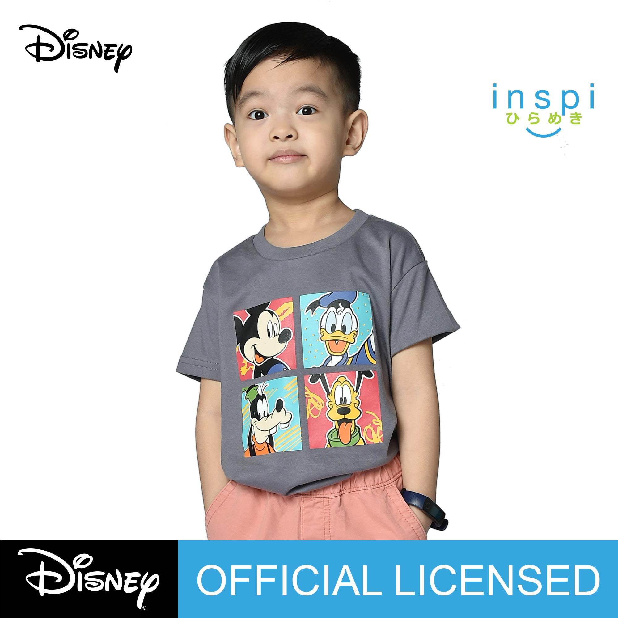 Disney Mickey and Friends Faces Tshirt in Sultry Gray for Boys Inspi Shirt