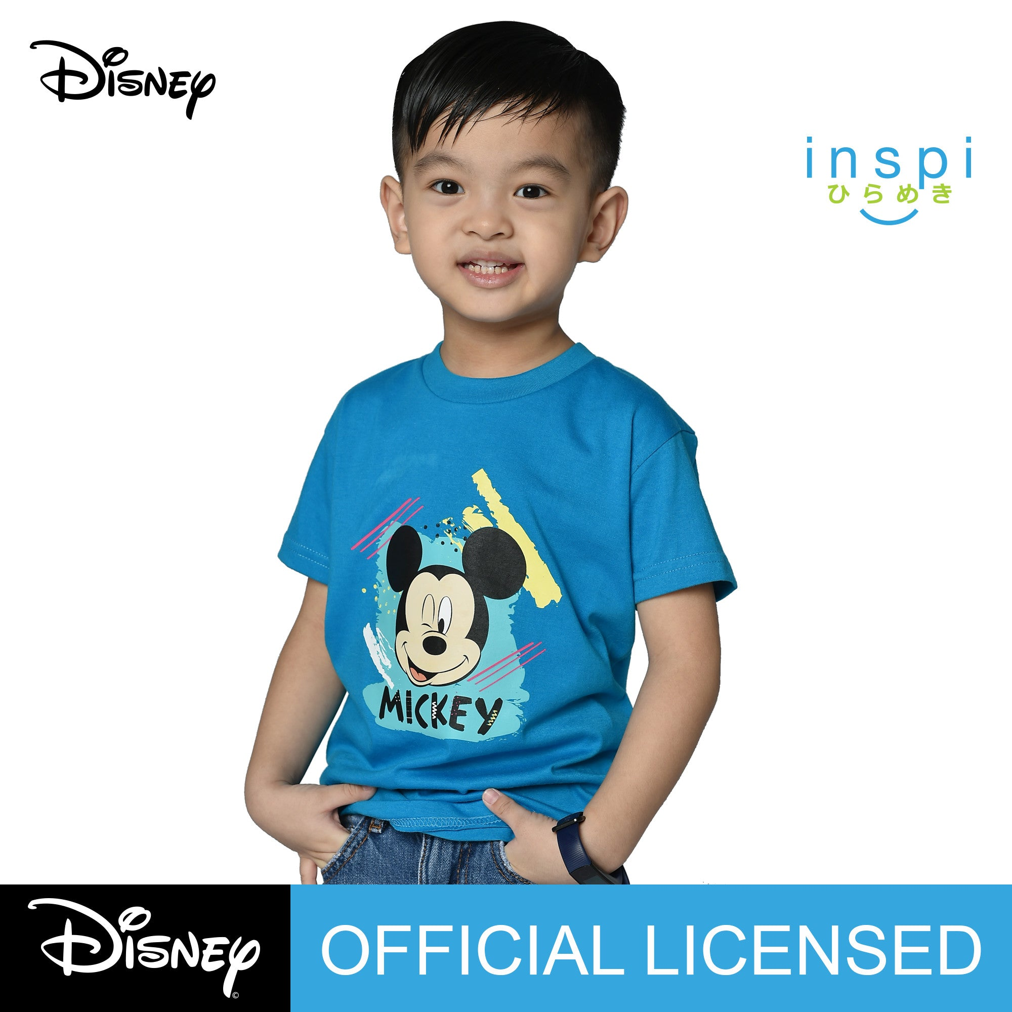 Disney Mickey Mouse Color Burst Tshirt in Aqua Blue for Boys Inspi Shirt