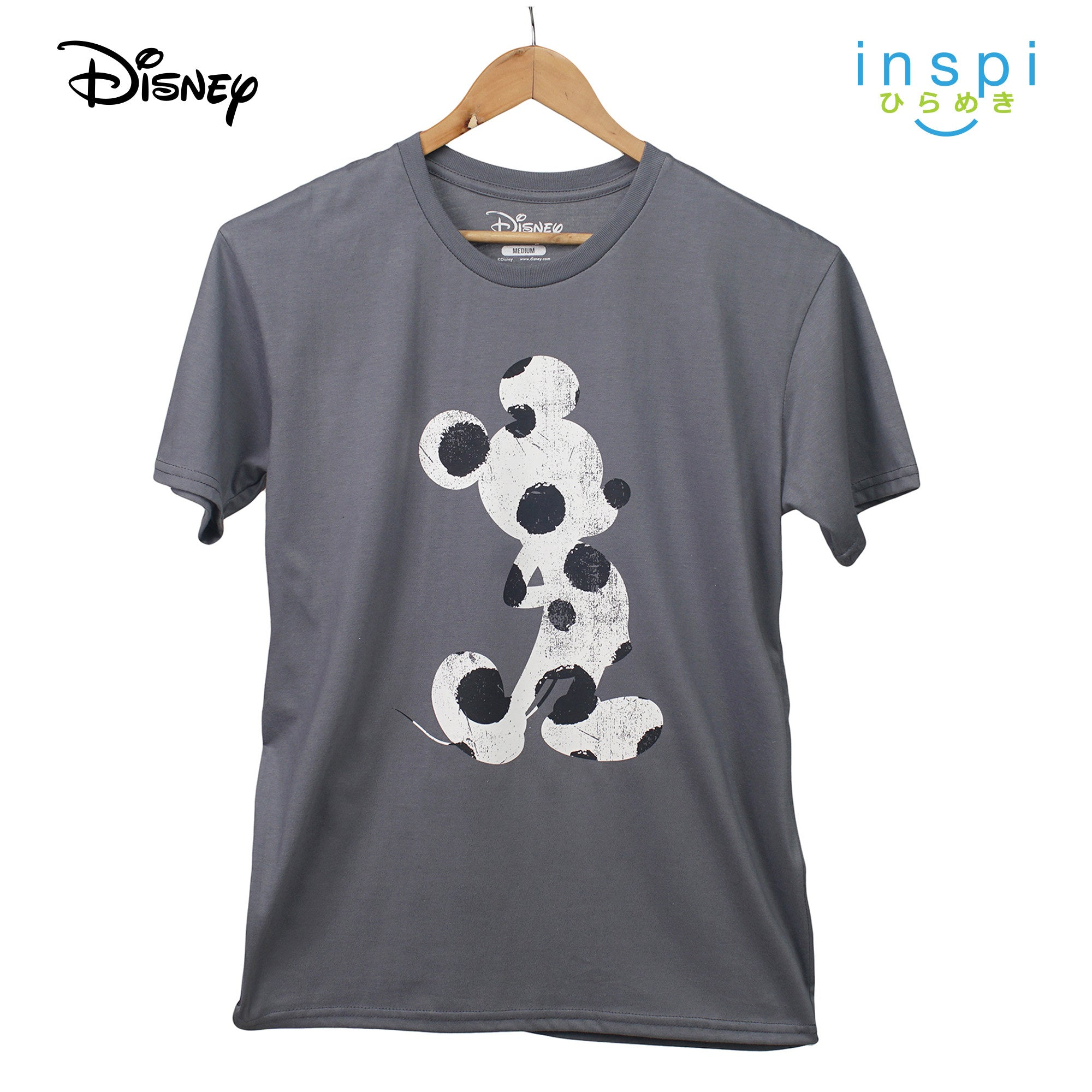 Disney Mickey Mouse Polkadot Silhouette Graphic Tshirt in Gray For Men Inspi Shirt