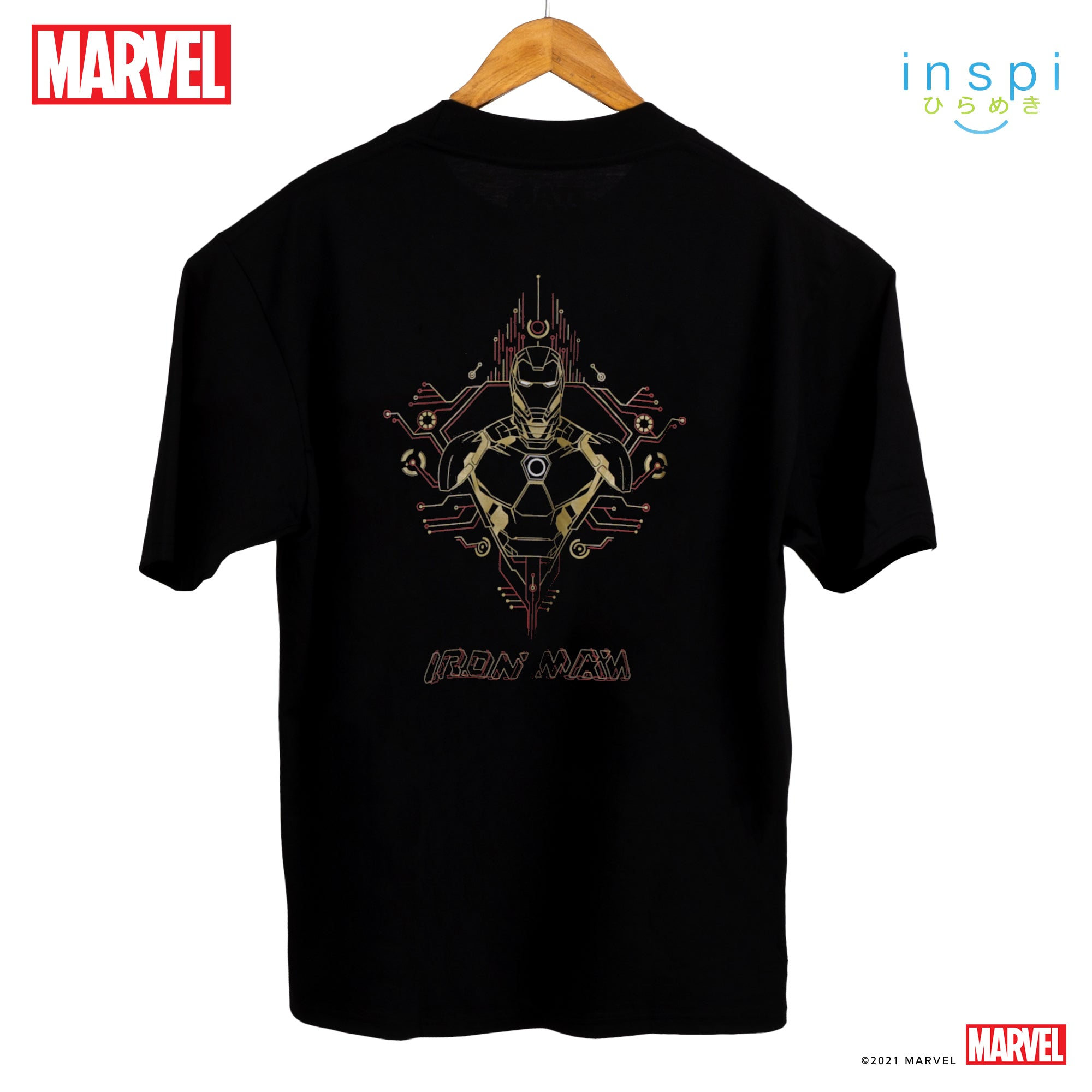 Marvel Loose Fit Iron Man Tech Geometry Graphic Korean Oversized Tshirt in Black Inspi Tee