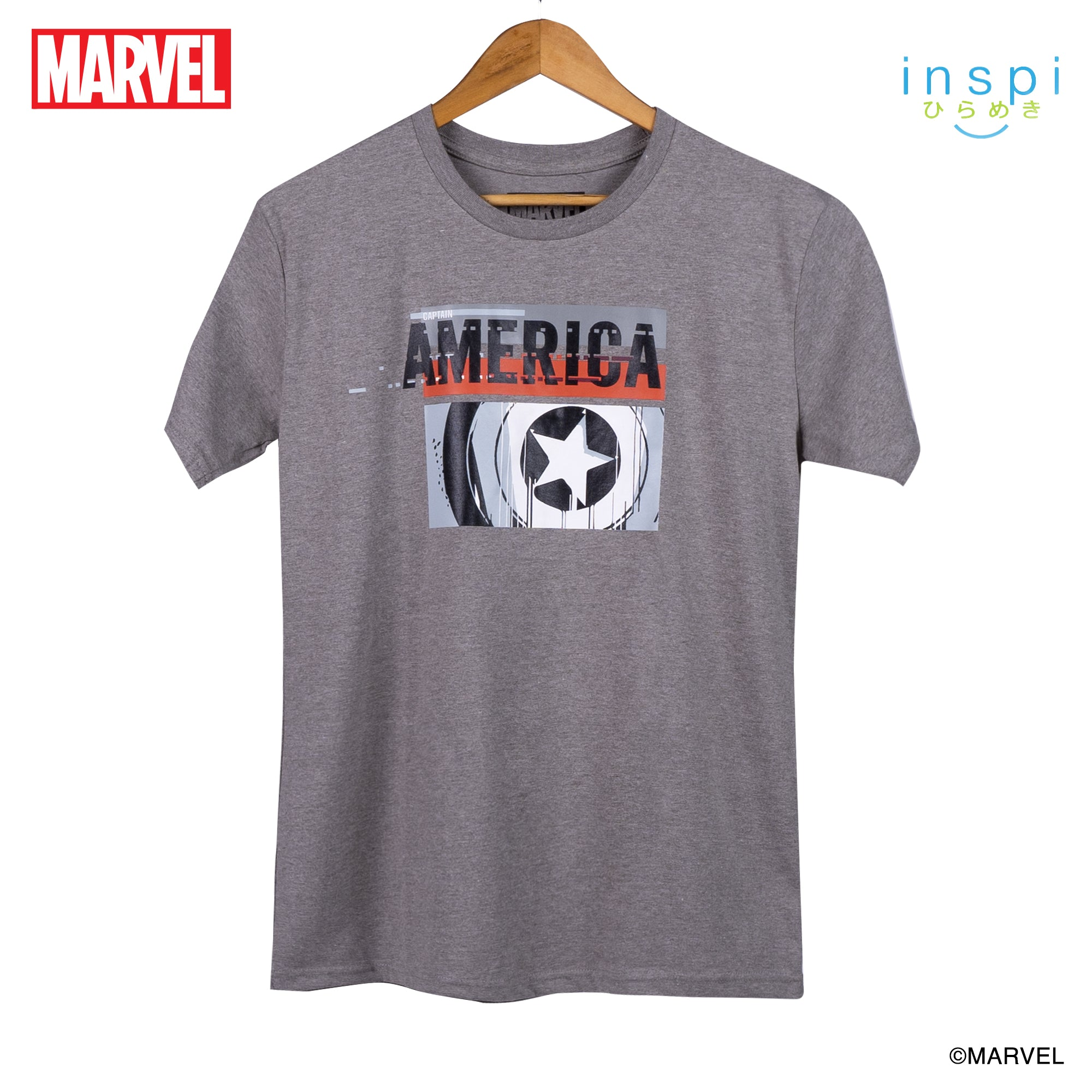 Marvel Captain America Abstract Logo Graphic Tshirt in Light Acid for Men and for Women Inspi Shirt