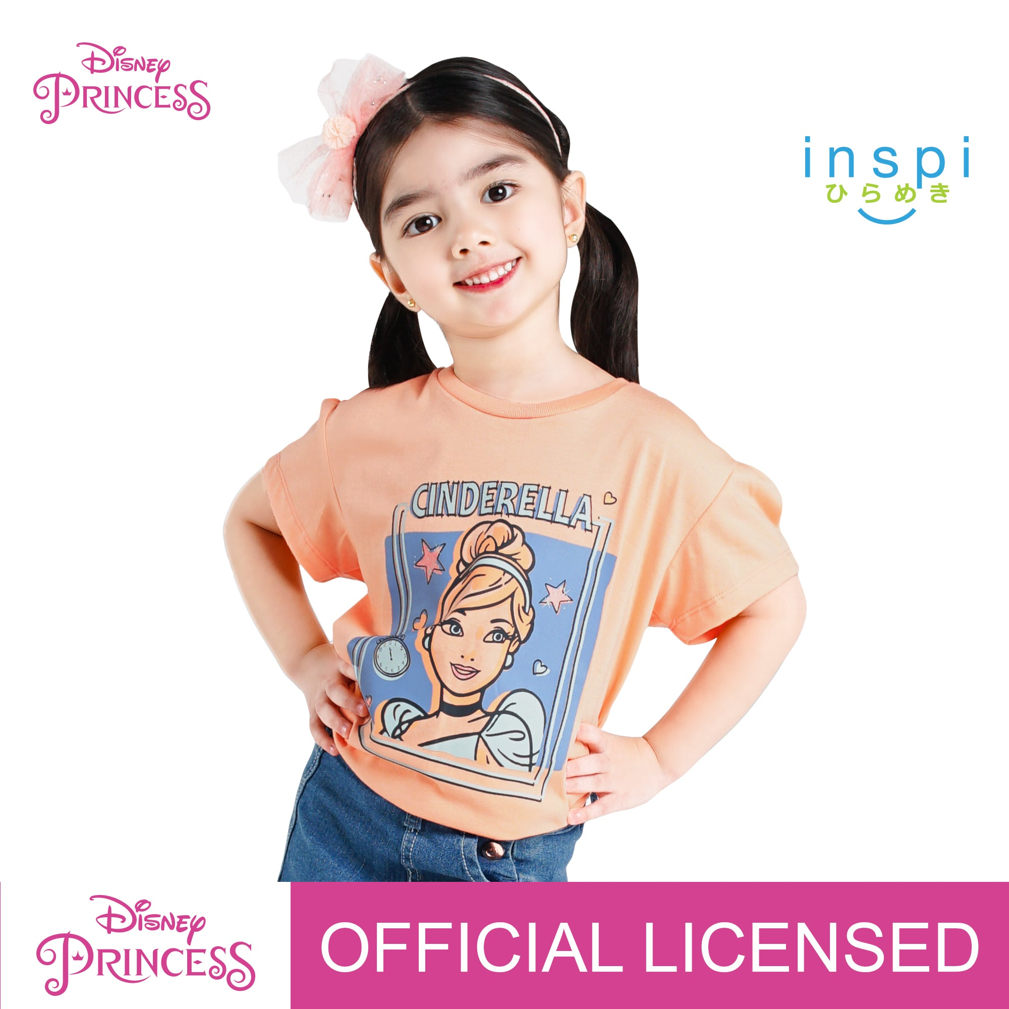 Disney Princess Cinderella Portrait Tshirt in Sorbet for Girls Inspi Shirt